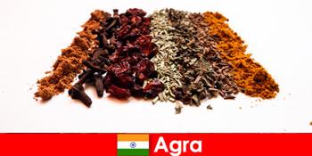 Udflugt for turister i det raffinerede køkken af krydderier i Agra Indien